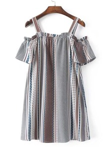 Cold Shoulder Vertical Striped Dress