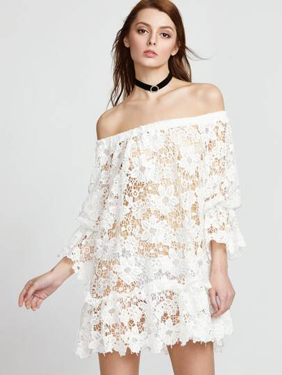 Off Shoulder Hollow Out Embroidered Lace Dress