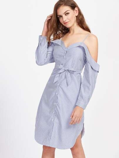 Cold Shoulder Pinstripe Self Tie Split Side Dress