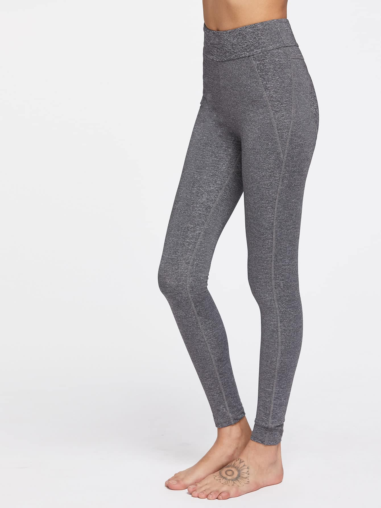 heather grey sports leggings shein sheinside. Black Bedroom Furniture Sets. Home Design Ideas