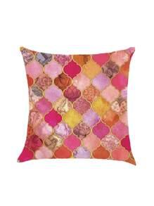 Funda de almohada con estampado patchwork