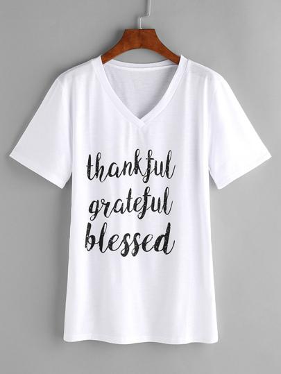 V-neckline Slogan Print Tshirt
