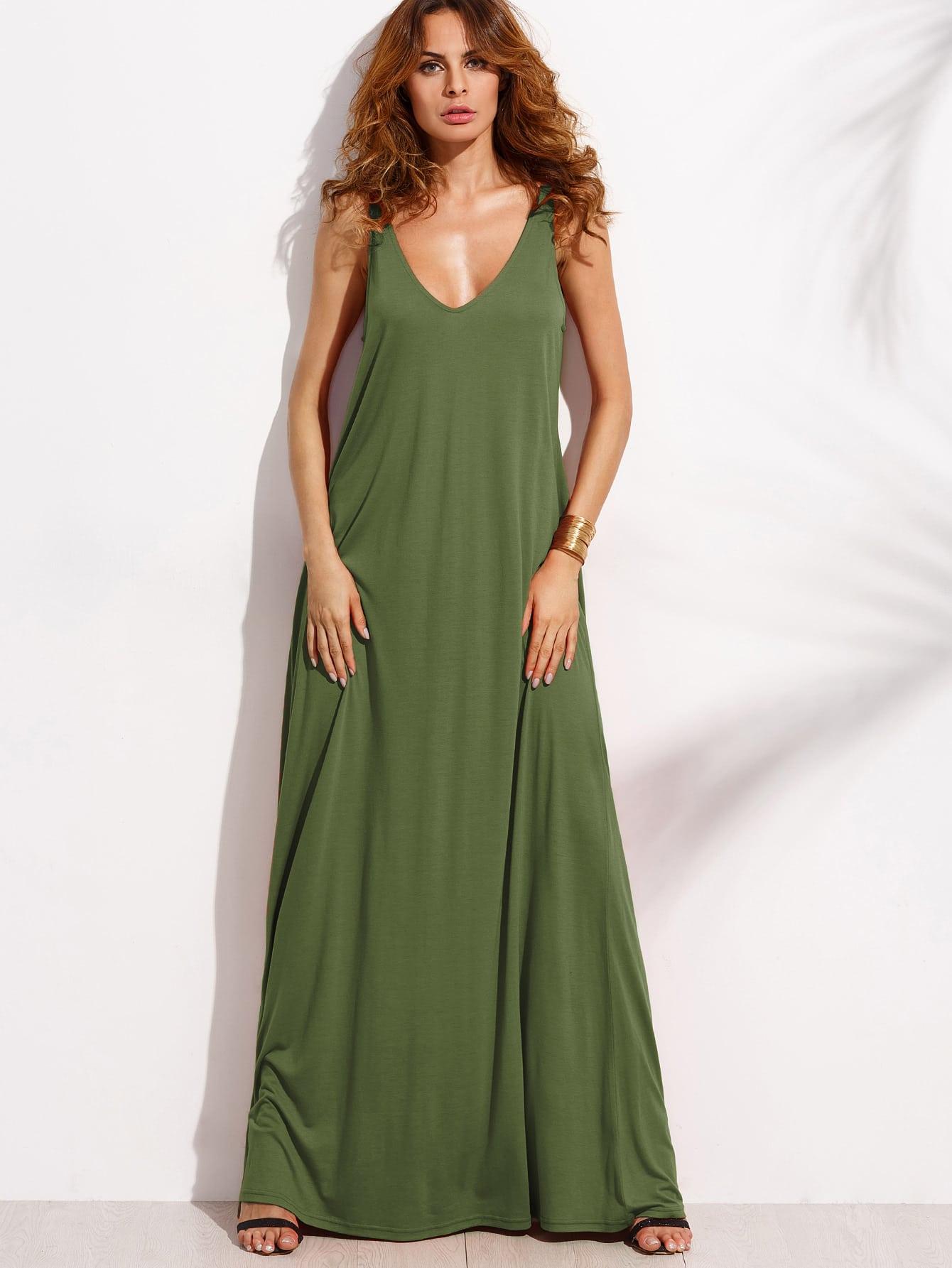 Double V Neck Jersey Tent Dress dress170419462