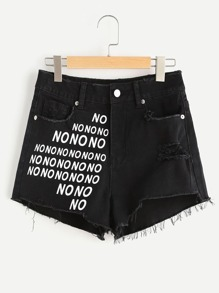 NO Print Raw Hem Distressed Denim Shorts
