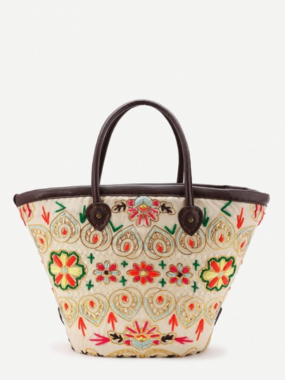 Flower Pattern Straw Bag With Faux Leather Handle