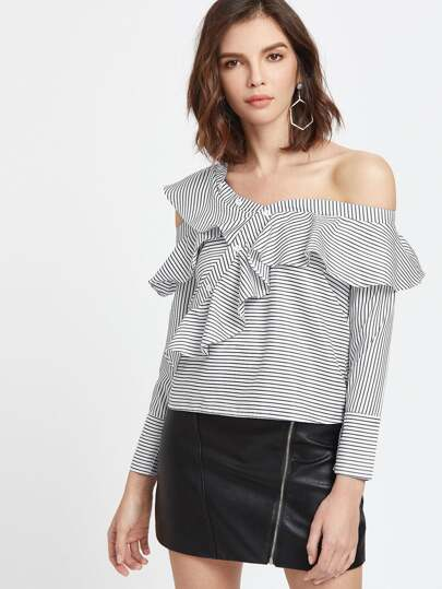 Pinstriped Asymmetric Open Shoulder Flounce Trim Top