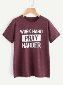Camiseta estampada de lema