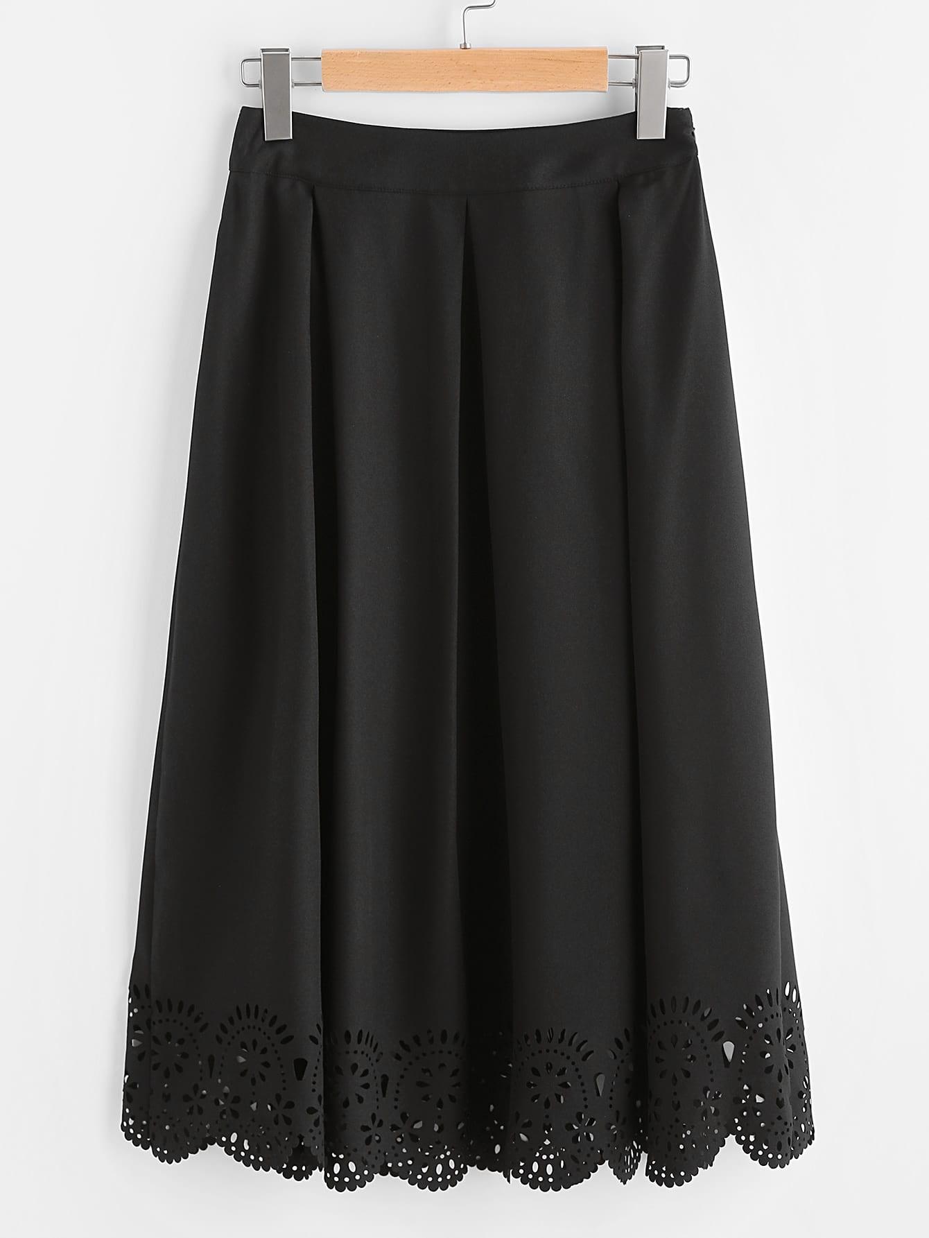 Фото Box Pleated Laser Cut Scalloped Hem Skirt. Купить с доставкой
