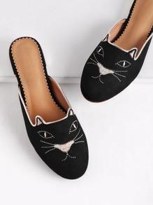 Pantofole piatte con gatto ricamato