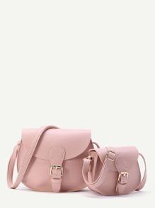 Buckle Design Saddle Shoulder Bag 2pcs