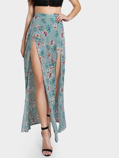 Flower Print Double Slit Maxi Skirt With Knicker Shorts