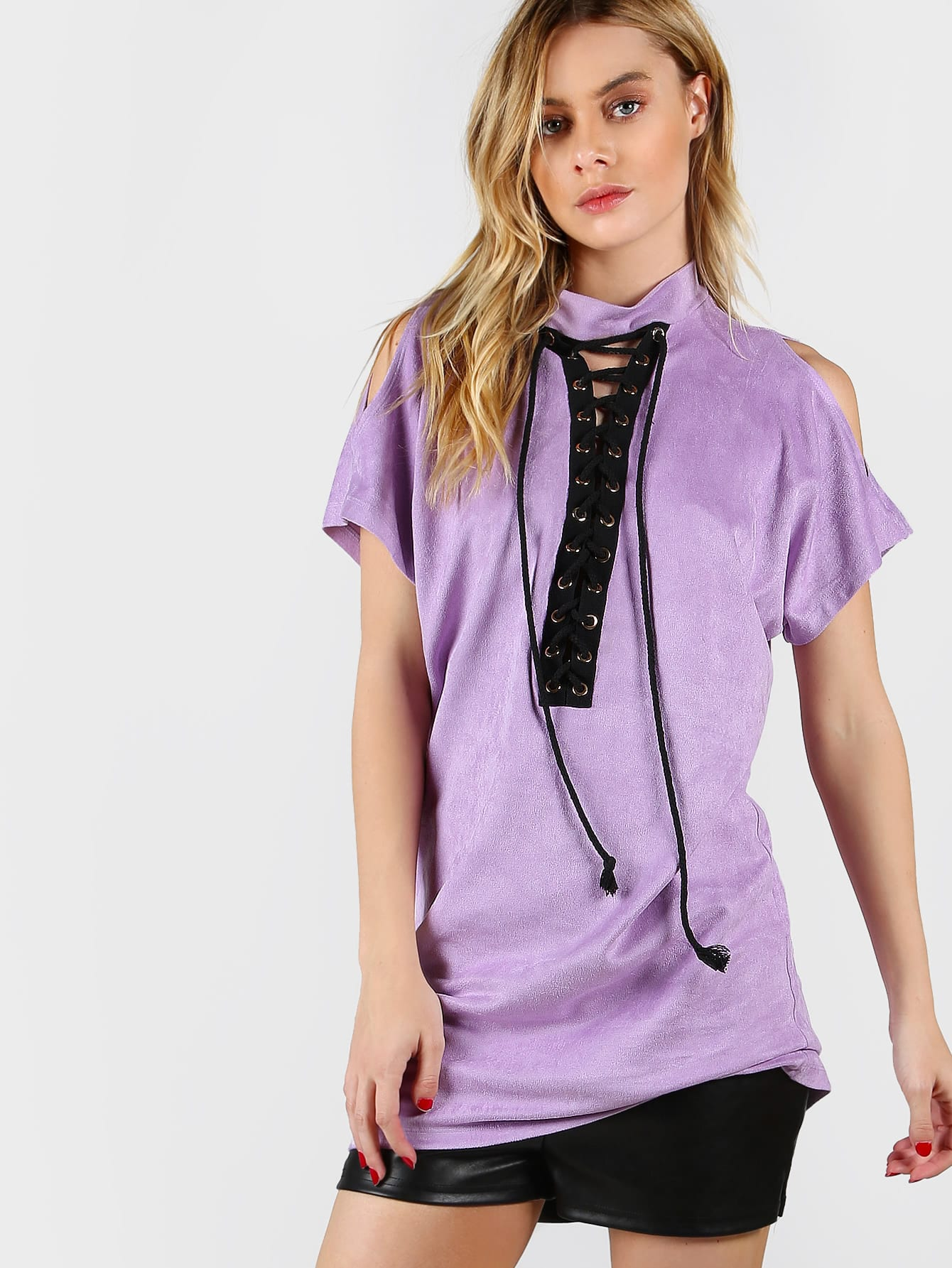 Фото Purple High Neck Open Shoulder Lace Up Front Tee Dress. Купить с доставкой
