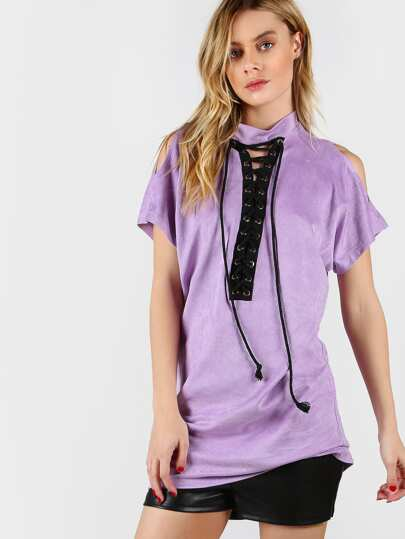 Purple High Neck Open Shoulder Lace Up Front Tee Dress