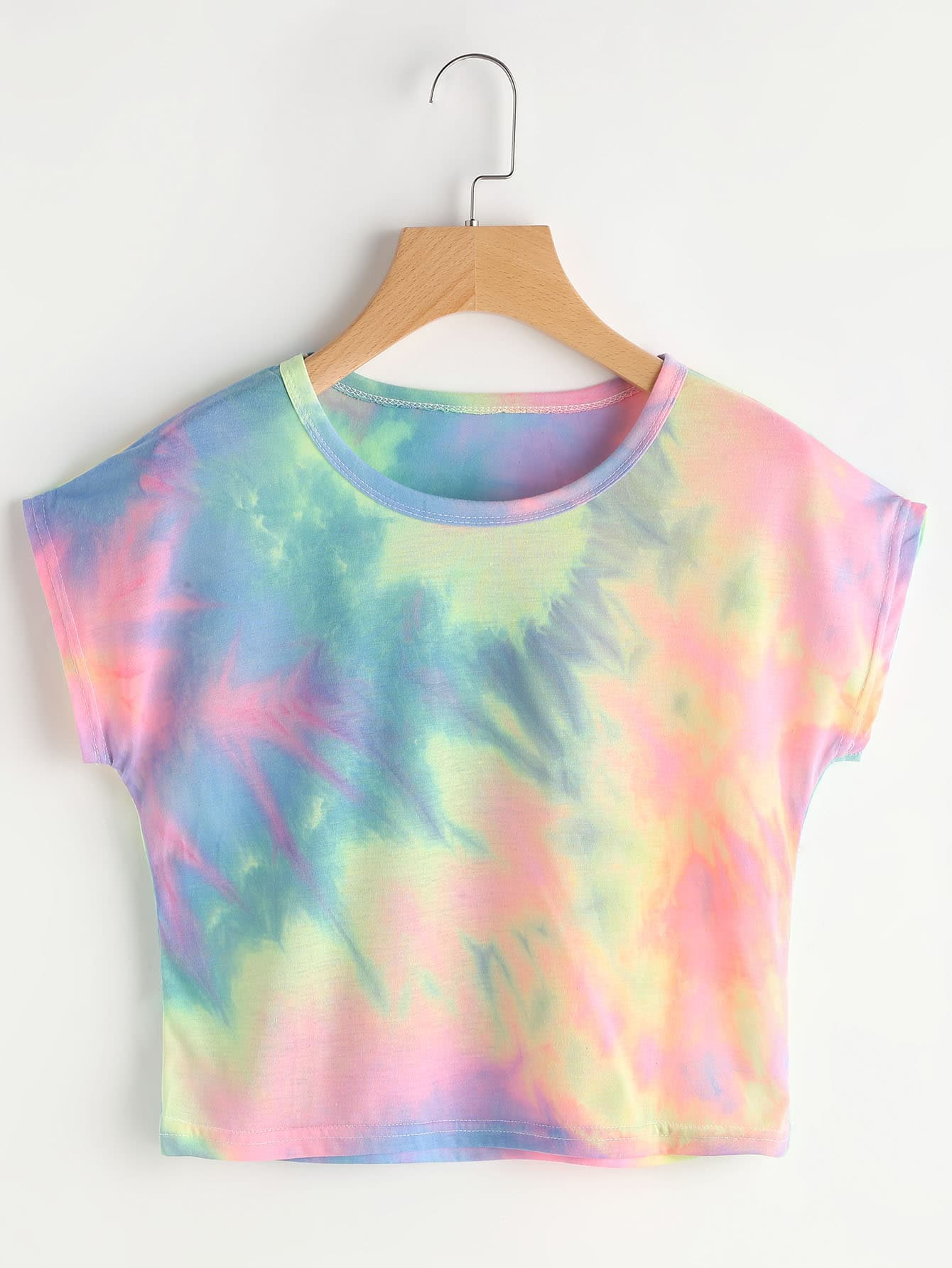 camiseta de manga murci u00e9lago con estampado de acuarela