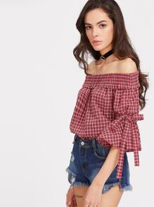 Bardot Checked Bow Tie Bell Sleeve Smock Top