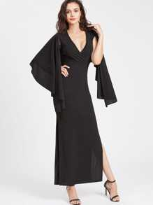 Surplice Plunging High Slit Cape Dress