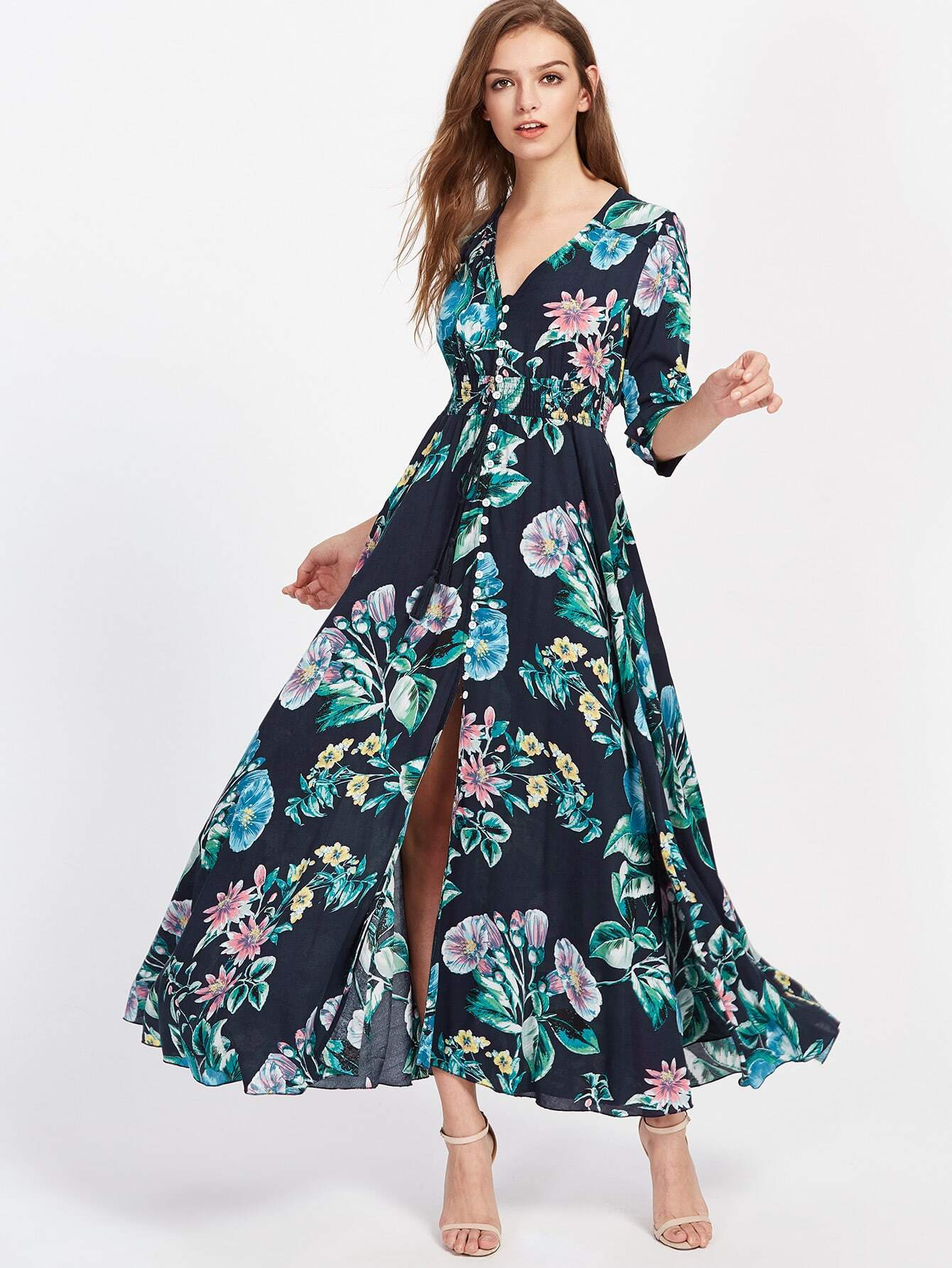Фото Smocked Waist Tassel Tie Button Up Botanical Dress. Купить с доставкой