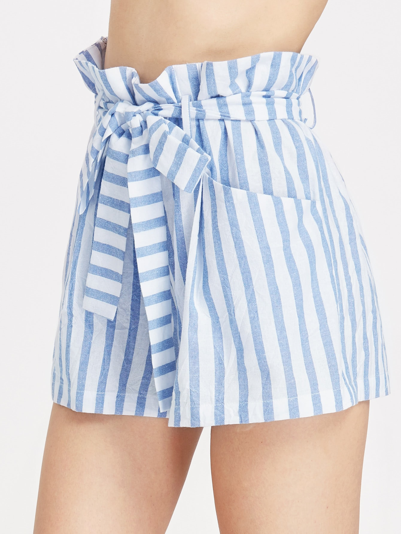 Image of Belted Ruffle Waist Striped Shorts