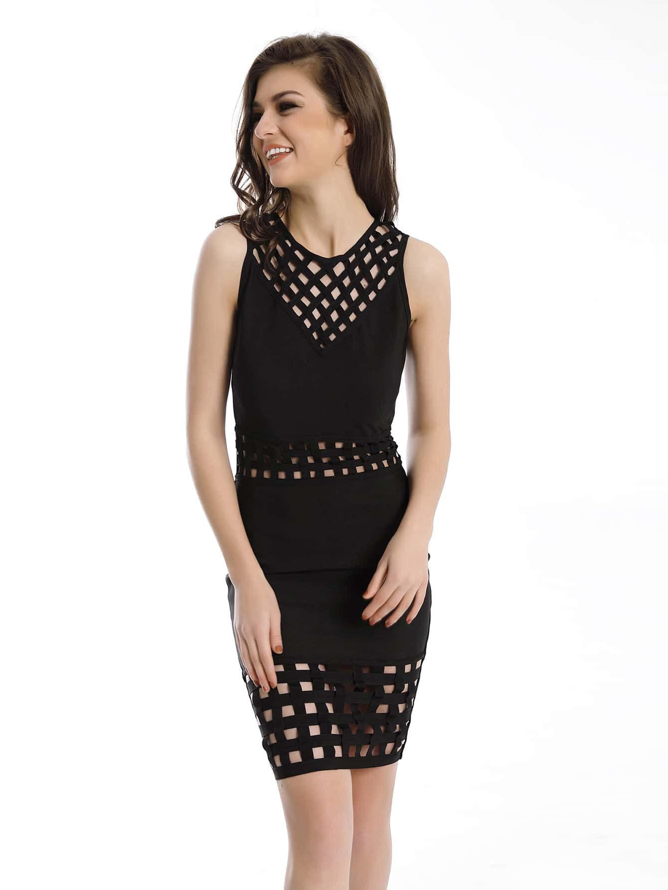 Hollow Out Caged Dress With Zipper Back