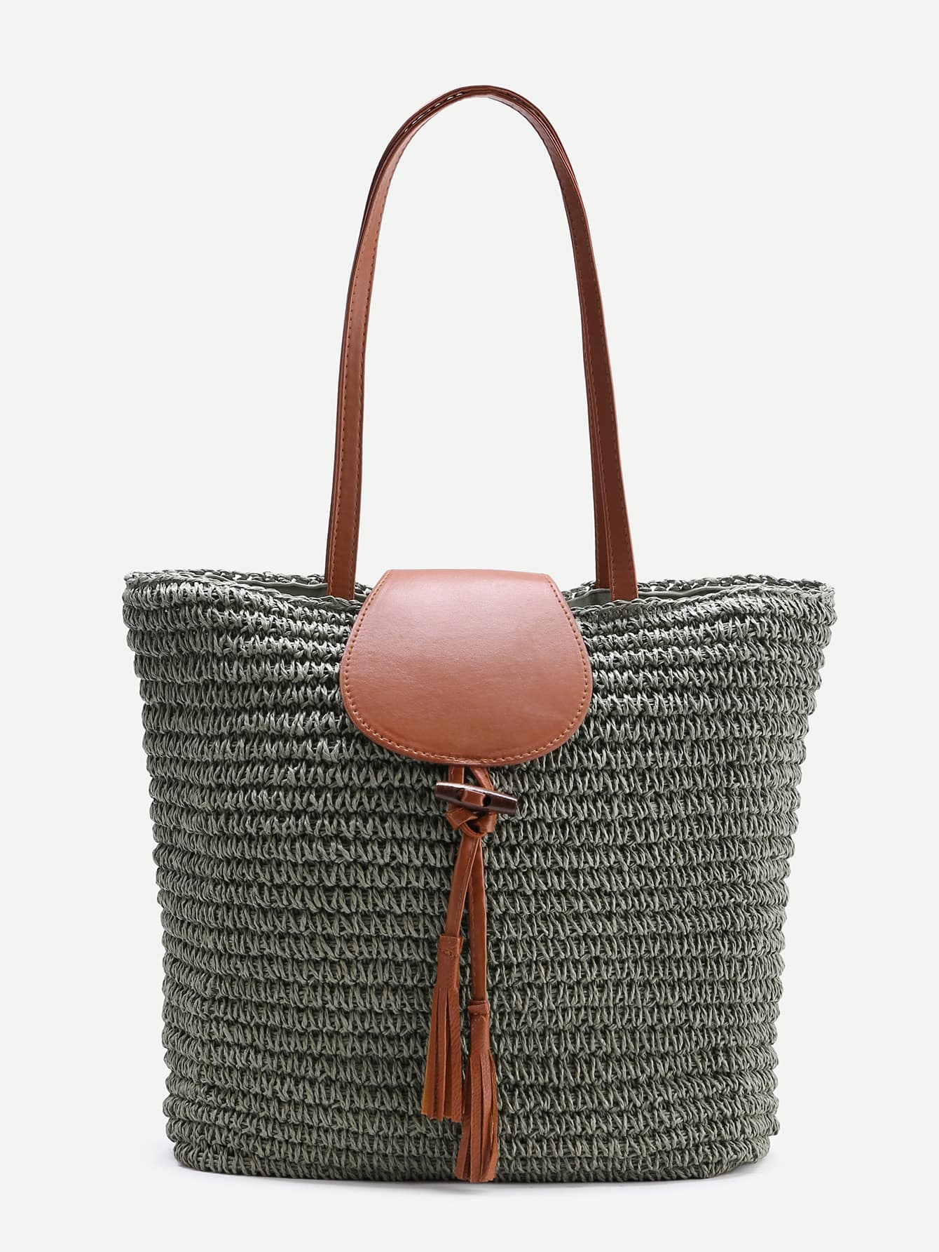 E-collection Straw Tote with Mat Green, • Made of % cotton canvas and straw • Great for a picnic in the park or a day at the beach • Spacious earth friendly tote • Outside pocket for accessories.