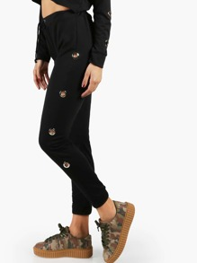 Eyelet Trim Drawstring Pants BLACK