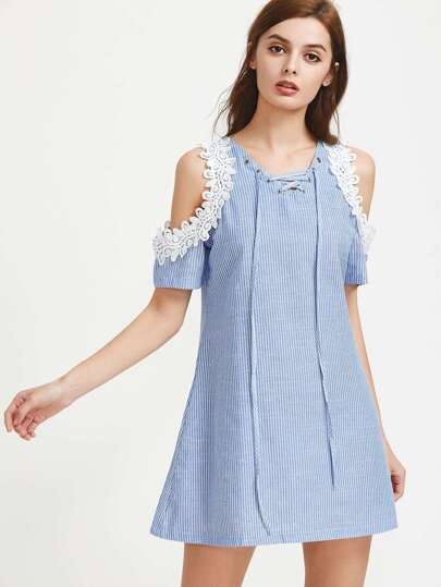 Contrast Crochet Open Shoulder Lace Up Striped Dress