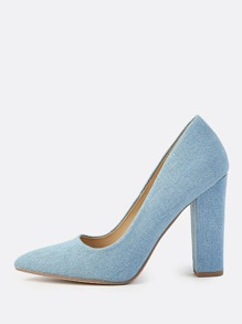 Point Toe Chunky Denim Heels LIGHT DENIM