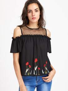 Mesh Yoke Frill Detail Keyhole Back Embroidered Top