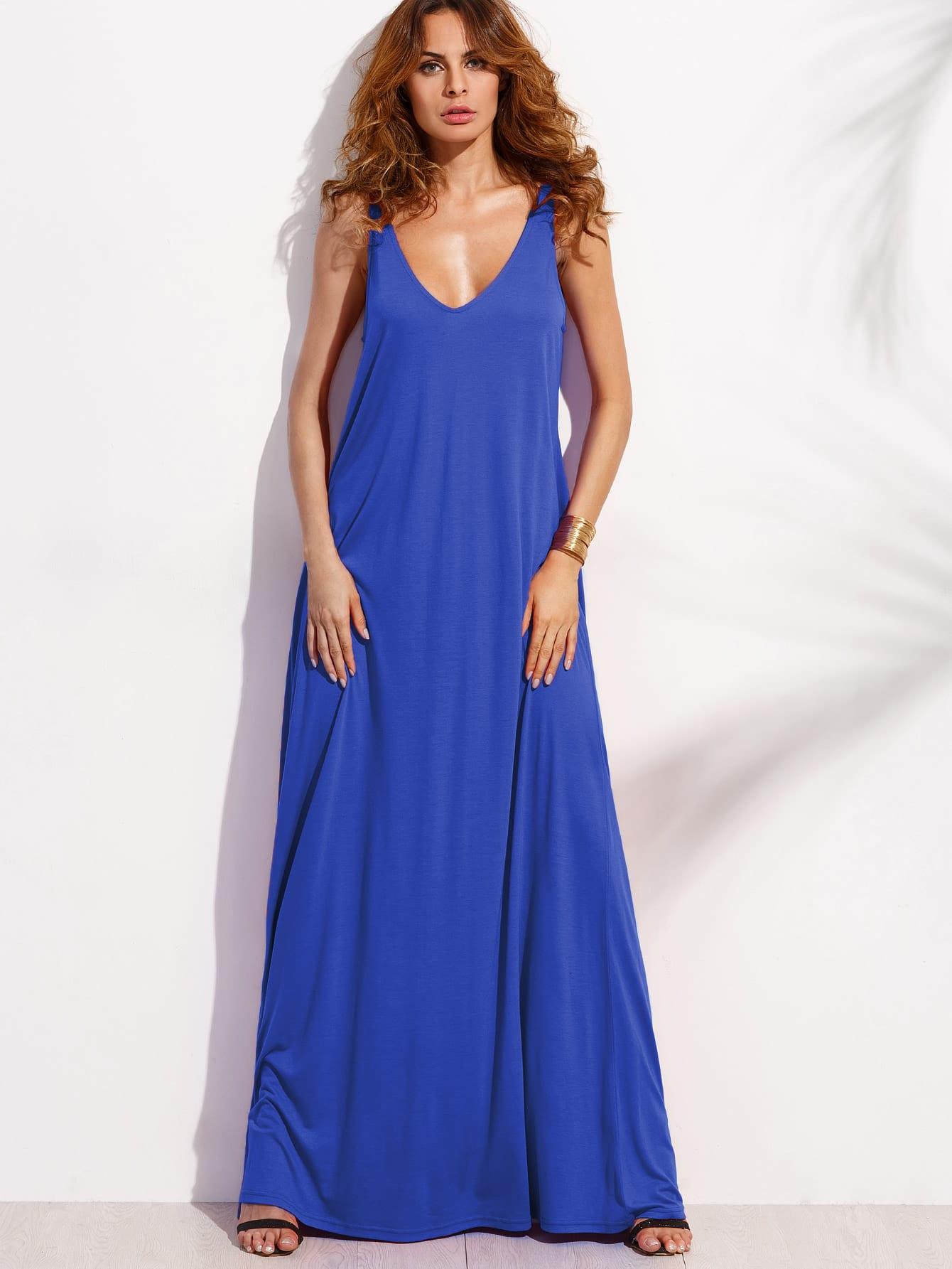 Double V Neck Jersey Tent Dress dress170419463