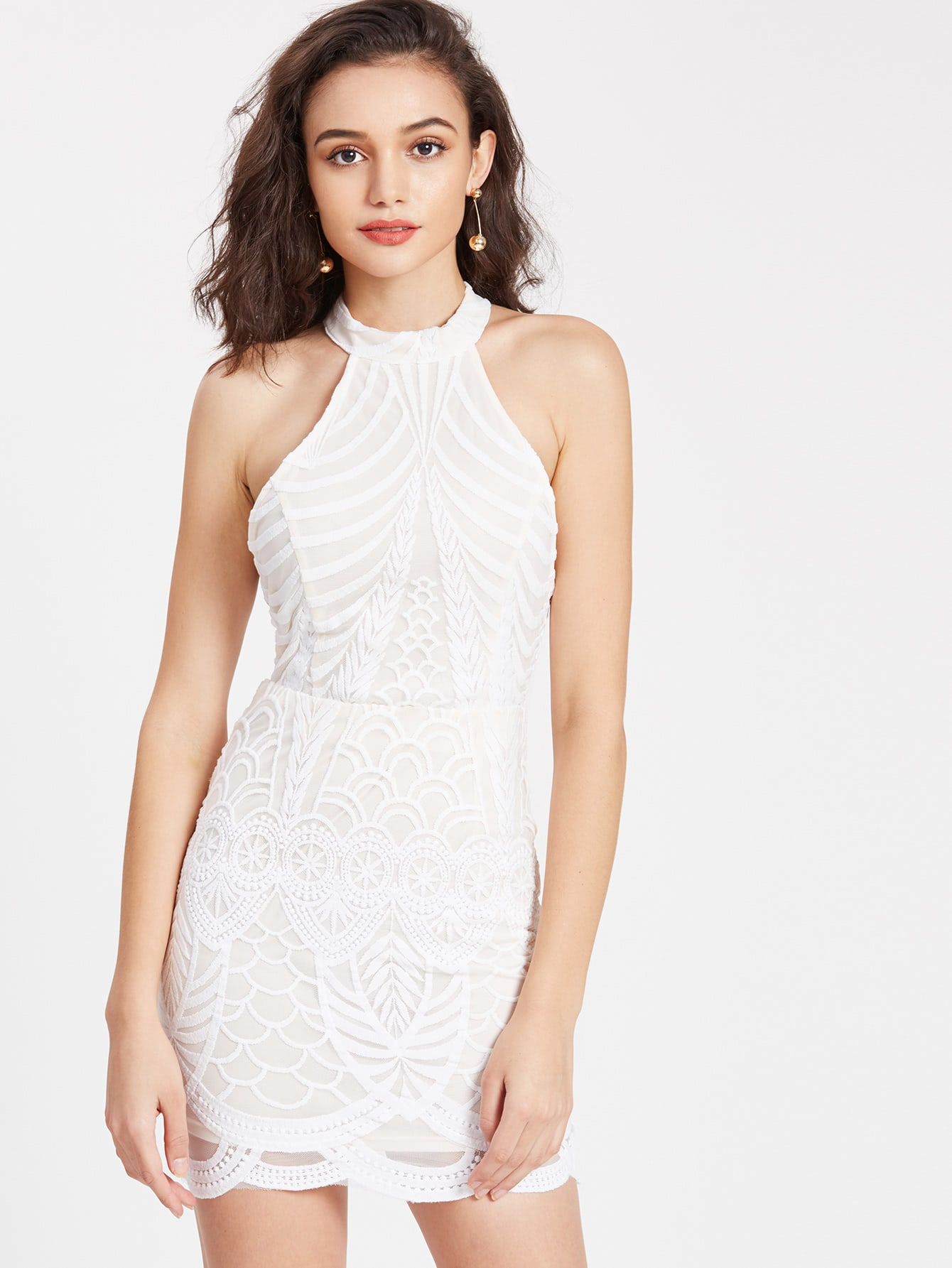Фото Halterneck Strappy Back Embroidered Mesh Overlay Dress. Купить с доставкой