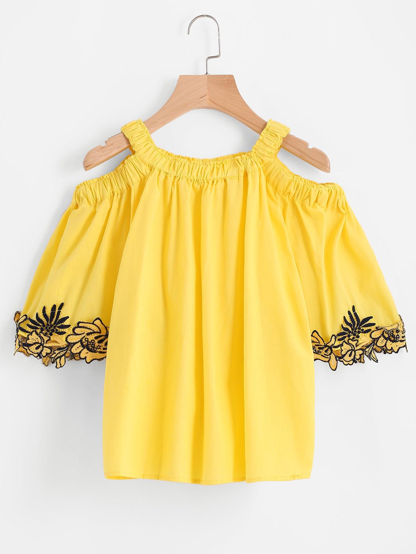 Open Shoulder Contrast Lace Top blouse170420104