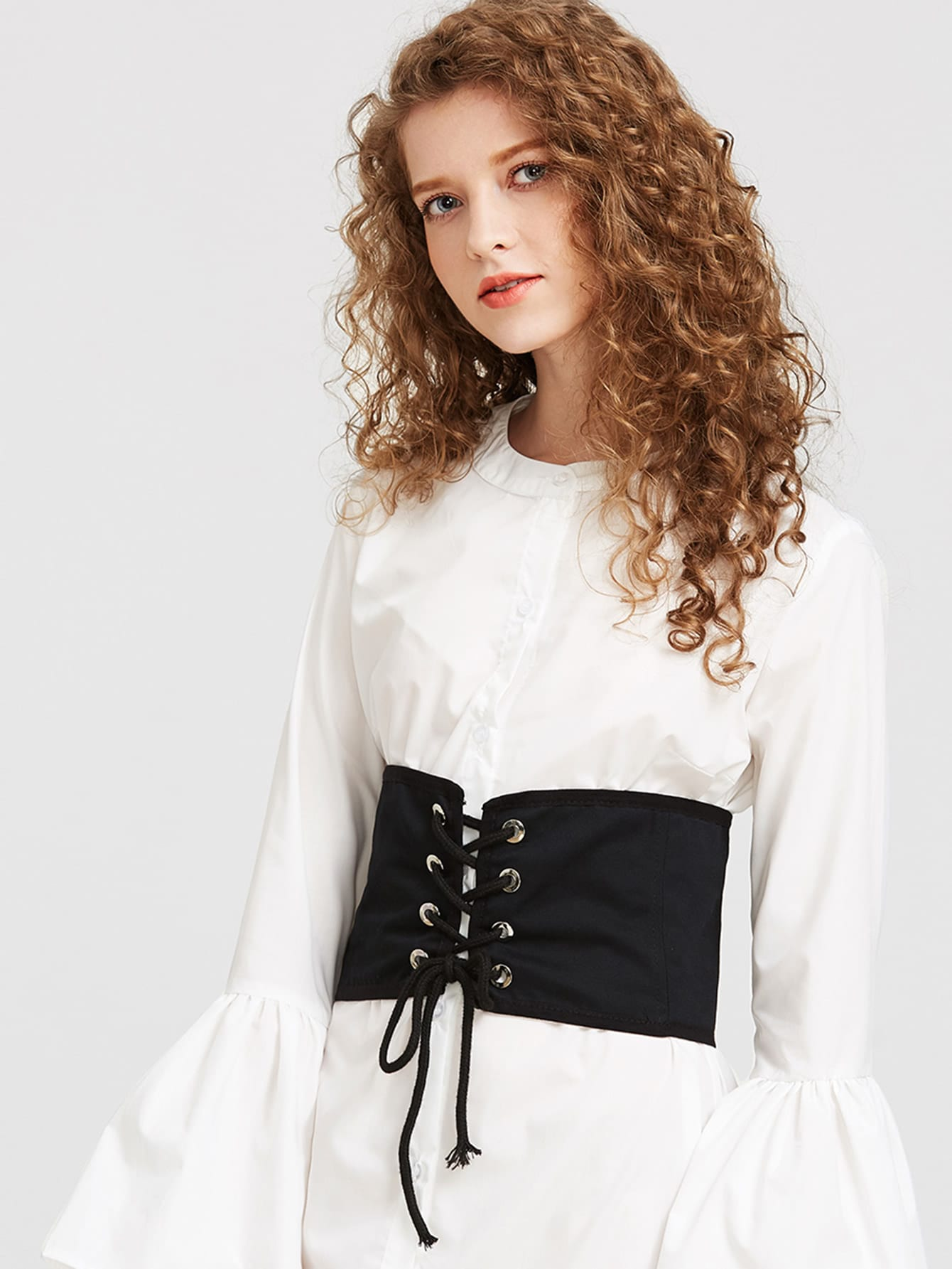Eyelet Lace Up Wide Belt