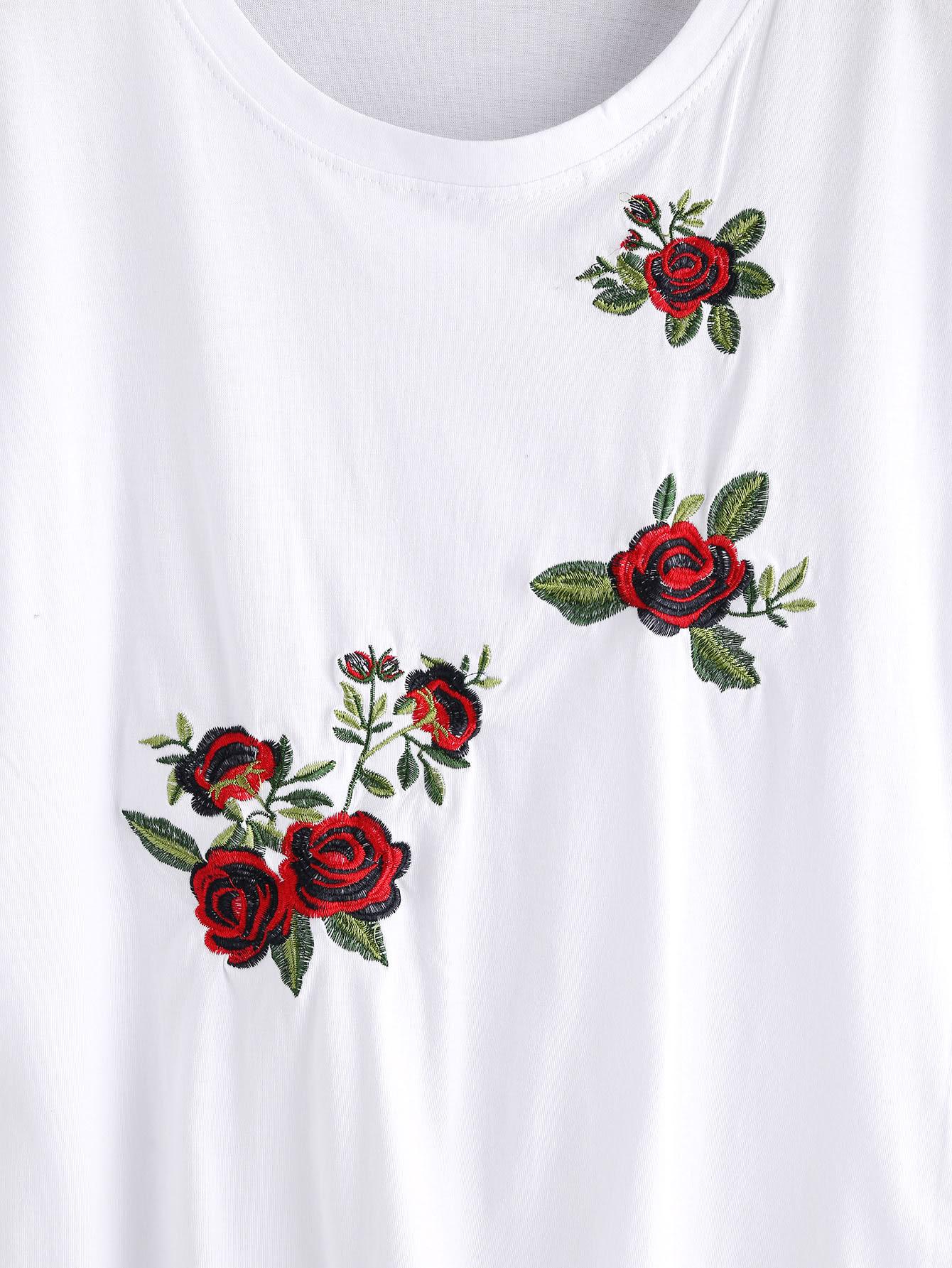 Rose embroidered tee shein sheinside
