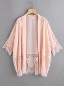 Kimono dentelle à manches 3/4 garniture - rose