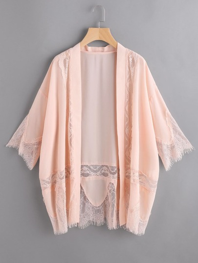 Lace Trim Dropped Shoulders Kimono