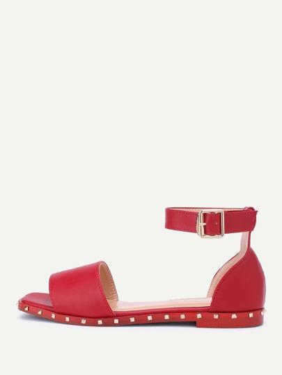 Studded Detail Ankle Strap Flat Sandals