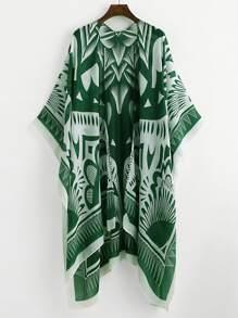 Kimono con abertura lateral con estampado de damasco