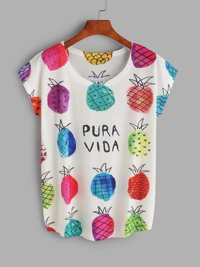 Camiseta con estampado de piña