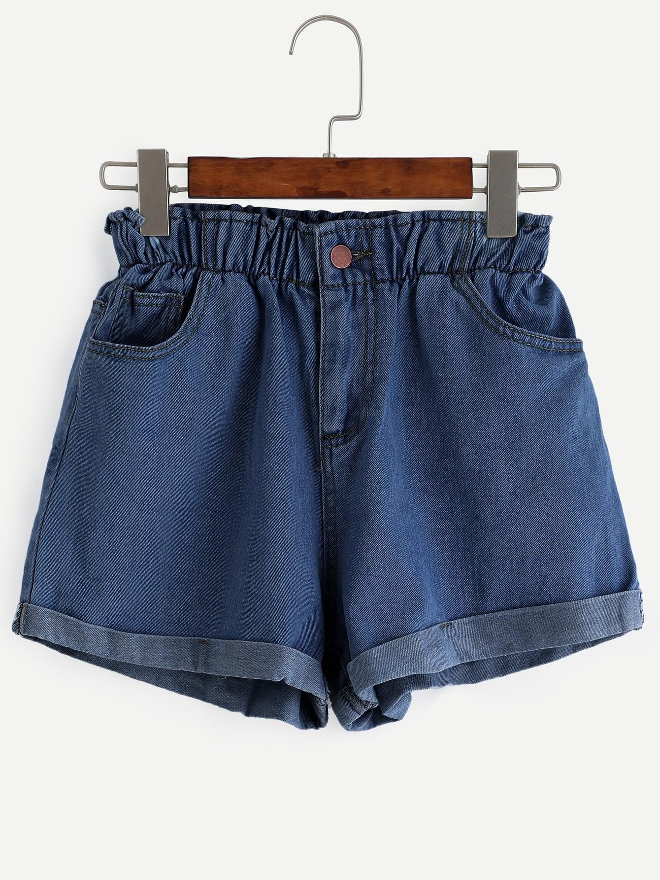 Elastic Waist Roll Cuff Denim Shorts