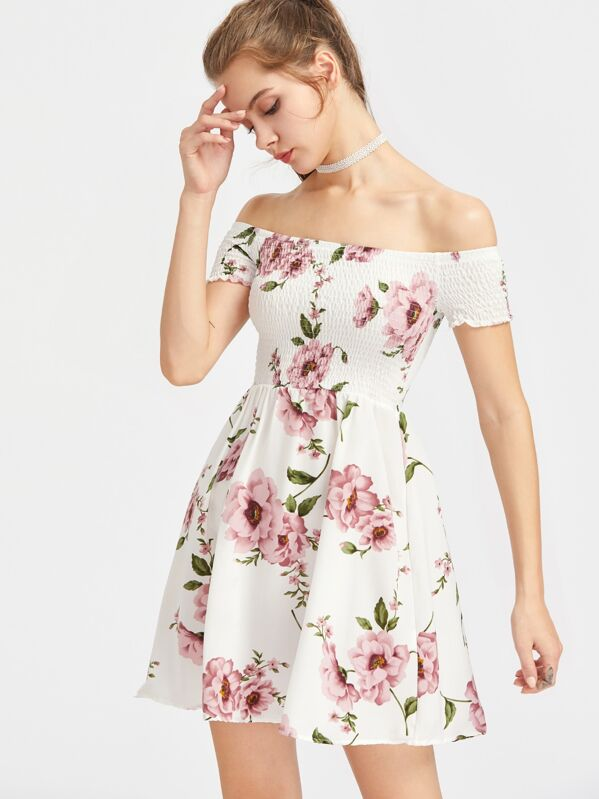 Floral Print Smocked Bardot Dress, Tati