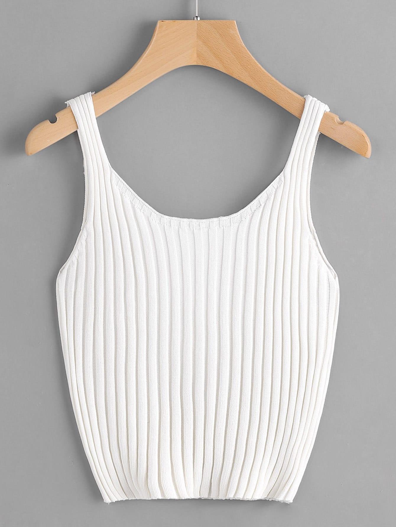 Ribbed Knit Crop Tank Top