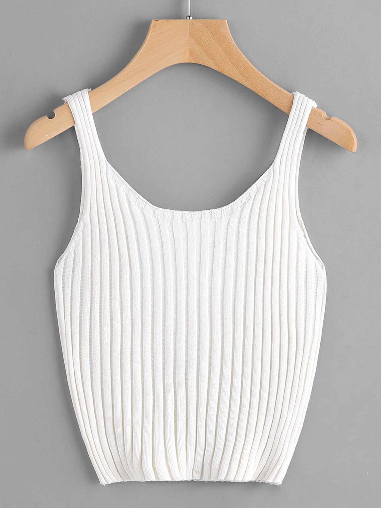 Ribbed Knit Crop Tank Top RVES170406104