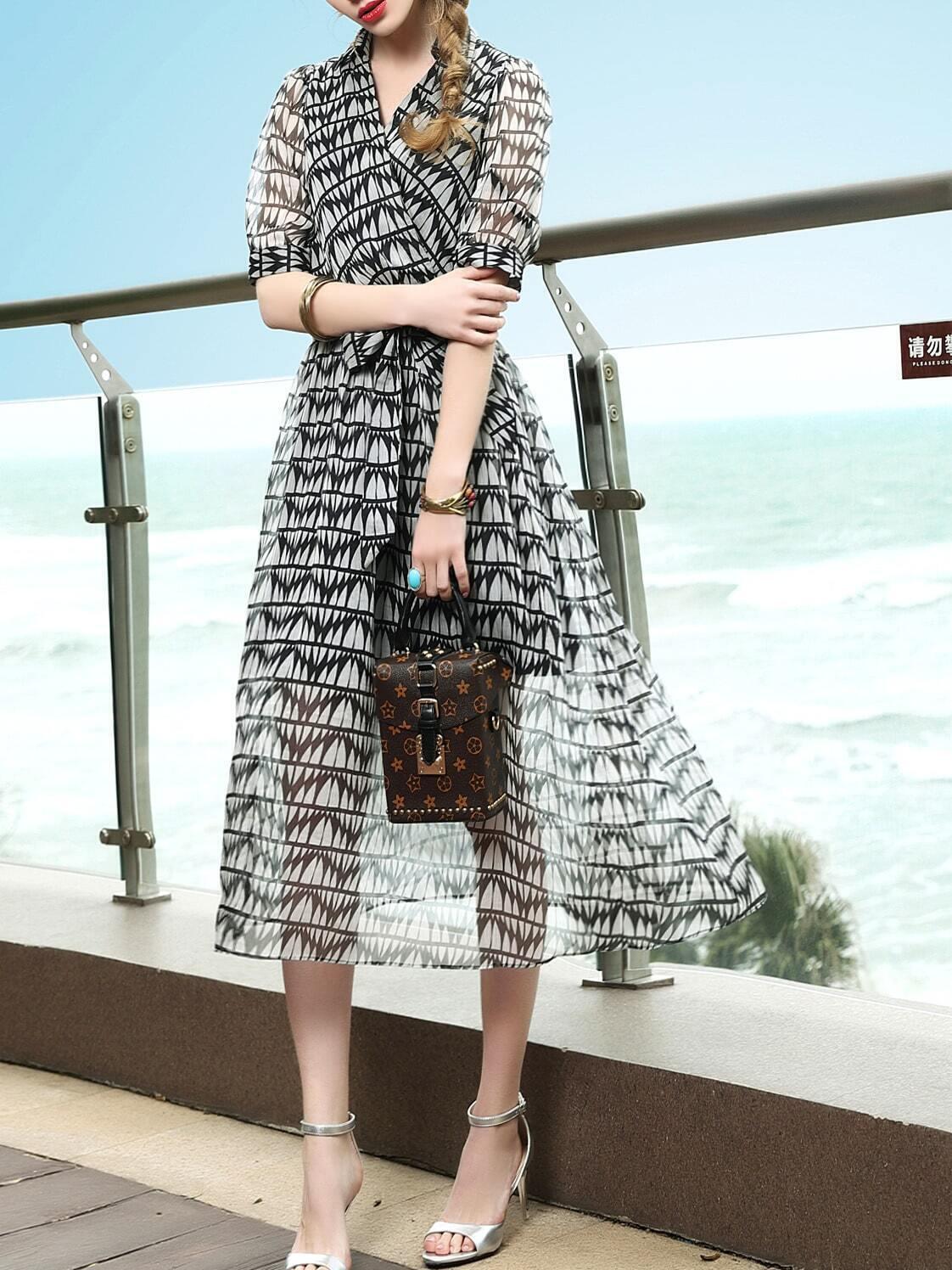 Фото V Neck Print Tie-Waist Sheer Dress. Купить с доставкой