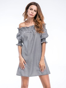 Bardot Gingham Frill Trim Dress