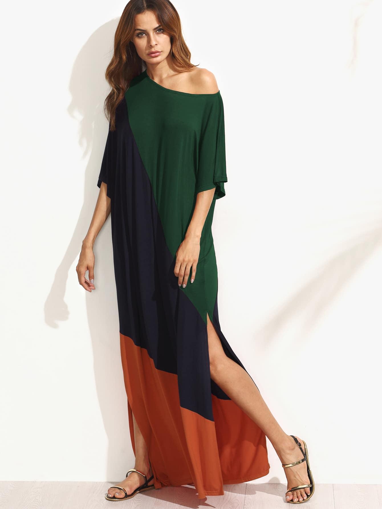 Asymmetric Shoulder Side Slit Cut And Sew Tee Dress