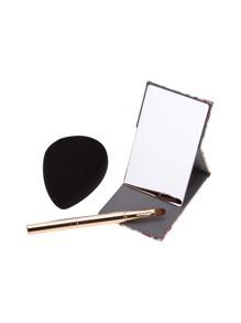 Ensemble de miroir et de mousseline de maquillage