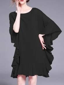 Batwing Sleeve Ruffle Dress