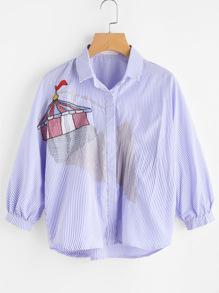 Yurt Tent Embroidered Hidden Placket Shirt