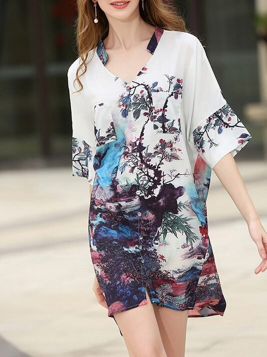Фото V Neck Tie Backless Print Shirt Dress. Купить с доставкой