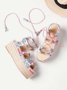 Calico Print Lace Up Sandales plates en espadrille Flatform